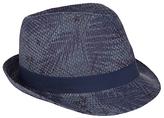 John Lewis Palm Print Trilby Hat, Blue