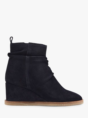 White Stuff Suede Ruched Wedge Heel Ankle Boots, Navy