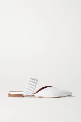 Malone Souliers Maisie Cord-trimmed Croc-effect Leather Point-toe Flats - White