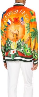 Casablanca Printed Long Sleeve Shirt in Tennis Club Sunset | FWRD