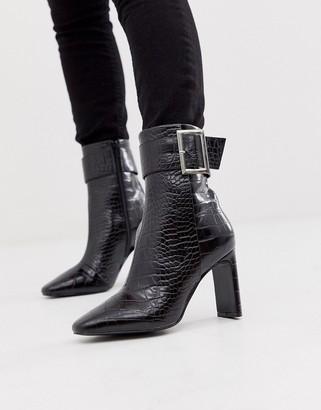 Asos Design DESIGN Entourage buckle high ankle boots in black croc