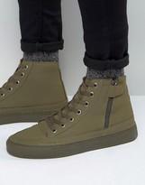 Asos High Top Sneakers in Khaki With Zip