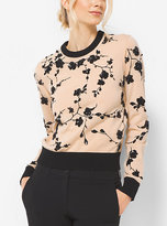 Michael Kors Floral-Embroidered Cashmere Sweater