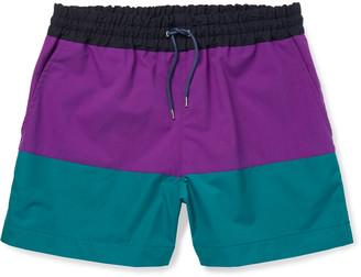 Sacai Colour-Block Shell Shorts - Men - Purple