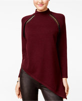 XOXO Juniors' Asymmetrical Faux-Leather-Trim Sweater