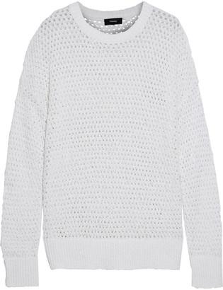 Theory Karenia Open-knit Cotton-blend Sweater
