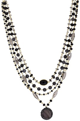 Saachi Marie Goldtone, Agate, Glass Mother-Of-Pearl Beaded Necklace