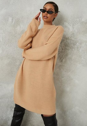 Missguided Tall Camel Rib High Neck Sweater Dress