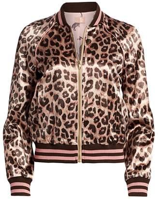 Mother Letterman Leopard-Print Satin Bomber Jacket