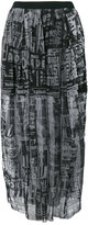 Diesel printed mesh gathered skirt - women - Cotton/Nylon/Polyester - XS