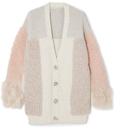 Stella McCartney Oversized Patchwork Cotton-blend And Faux Fur Cardigan - Ivory