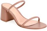 Gianvito Rossi 60mm Leather Block-Heel 2-Strap Slide Sandals