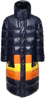 K Way R&D Color Block Nylon Long Down Jacket