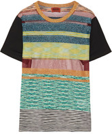 Missoni Striped Metallic Stretch-knit T-shirt - Turquoise