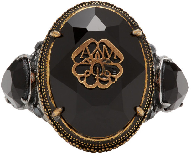 Alexander McQueen Gold Signature Jeweled Ring