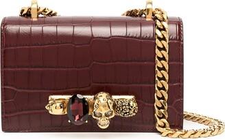 Alexander McQueen Jewelled crocodile-effect satchel
