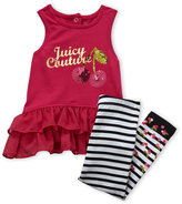 Juicy Couture Infant Girls) Two-Piece Fuchsia Hi-Low Tunic & Stripe Leggings Set