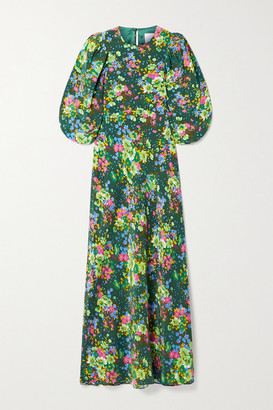 Les Rêveries Floral-print Silk Crepe De Chine Midi Dress - Dark green
