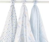 Hudson Baby 46'' x 46'' Blue Feather Muslin Swaddling Blanket Set