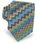 Missoni Diagonal Zig Zag Woven Silk Men's Narrow Tie