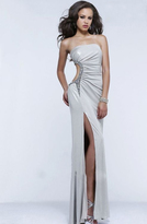 Faviana Bejeweled Strapless Jersey Long Evening Gown with Asymmetrical Side Cut-out 7311