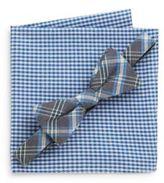 Original Penguin Oceanus Plaid Bow Tie & Gingham Pocket Square Set