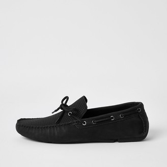 River Island Black tie front embossed driver shoes