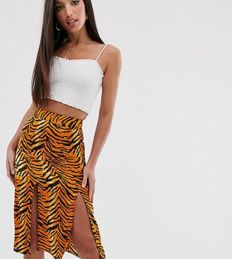 Influence Tall midi skirt in tiger print