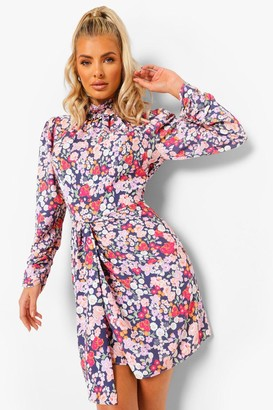 boohoo Mixed Floral High Neck Draped Mini Dress