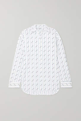 Balenciaga Oversized Printed Cotton-poplin Shirt - White