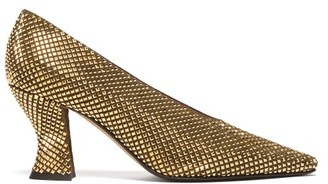 Bottega Veneta Almond Crystal-embellished Suede Pumps - Gold