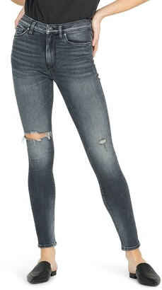 Hudson Jeans Barbara Ripped High Waist Super Skinny Jeans