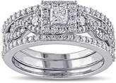 MODERN BRIDE 1 CT. T.W. Diamond 10K White Gold Bridal Ring Set
