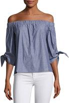 Romeo & Juliet Couture Off-the-Shoulder Cotton Blouse, Blue