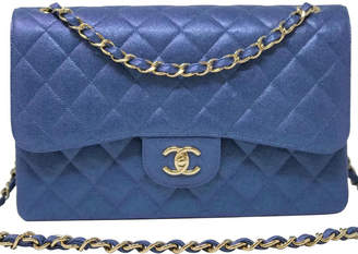 Chanel Classic Double Flap Quilted Iridescent Caviar Gold-tone Jumbo Blue
