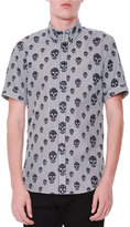 Alexander McQueen Skull-Print Striped Short-Sleeve Shirt, Black/White
