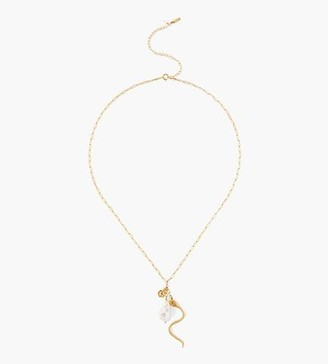 Chan Luu Snake And White Baroque Pearl Charm Necklace