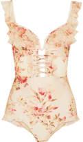 Zimmermann Corsair Ruffled Floral-print Point D'esprit-trimmed Halterneck Swimsuit - Pastel pink