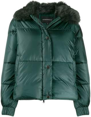 Emporio Armani faux-fur collar padded jacket