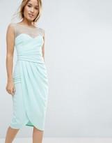 City Goddess Petite Wrap Front Midi Dress With Mesh Panel