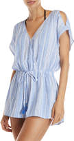 Hawaiian Tropic Striped Cold Shoulder Cover-Up Romper