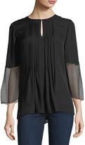 Elie Tahari Orion 3/4-Sleeve Pleated Silk Blouse