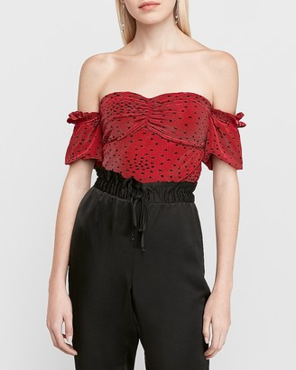 Express Pleated Off The Shoulder Heart Print Crop Top