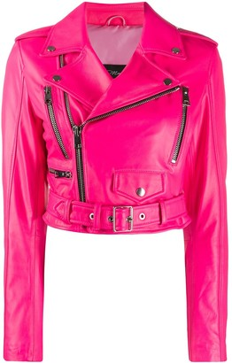 Manokhi Cropped Zip Detail Biker Jacket