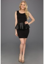 Type Z Maya Faux Leather Peplum Dress (Black) - Apparel