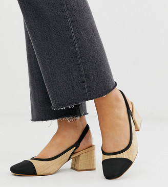 Asos Design DESIGN Wide Fit Whisker slingback mid heels in natural fabrication
