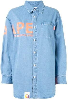 AAPE BY *A BATHING APE® Logo-Print Button-Up Denim Shirt