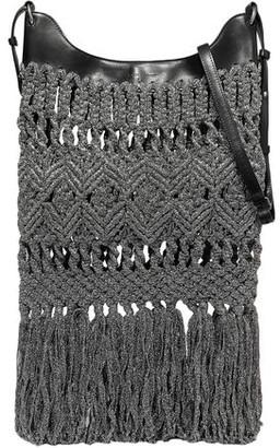 Isabel Marant Teomia Leather-trimmed Fringed Metallic Macrame Shoulder Bag