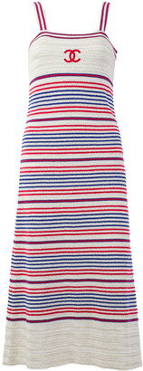 Chanel Cruise 2019 Collection Cc Striped Dress, Size Eu 34