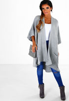 Pink Boutique Ice Queen Grey Knitted Oversized Cardigan